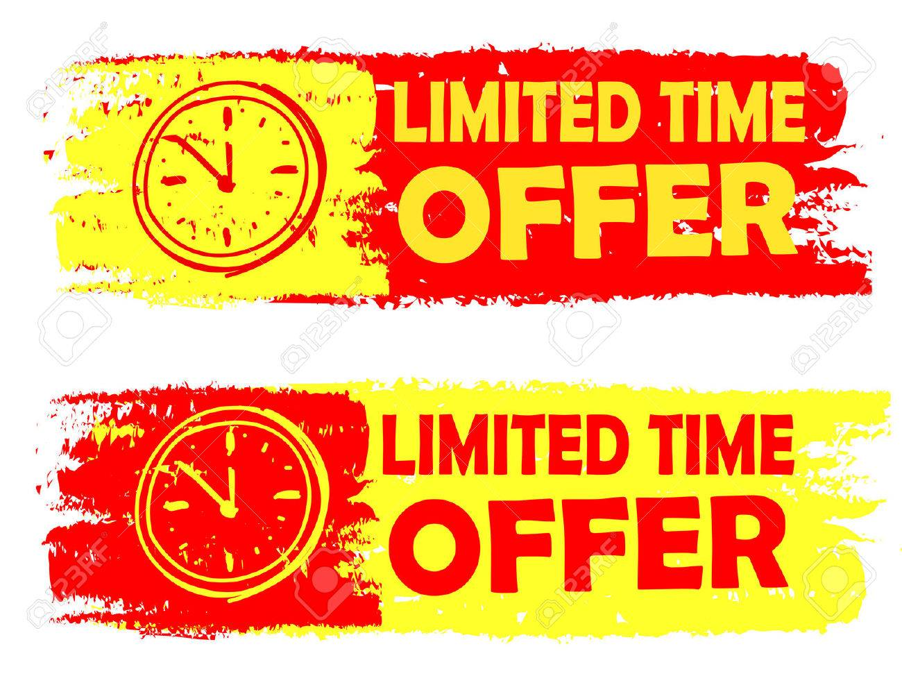 Limited Time Offer With Clock Signs Banners Text In Yellow Stock