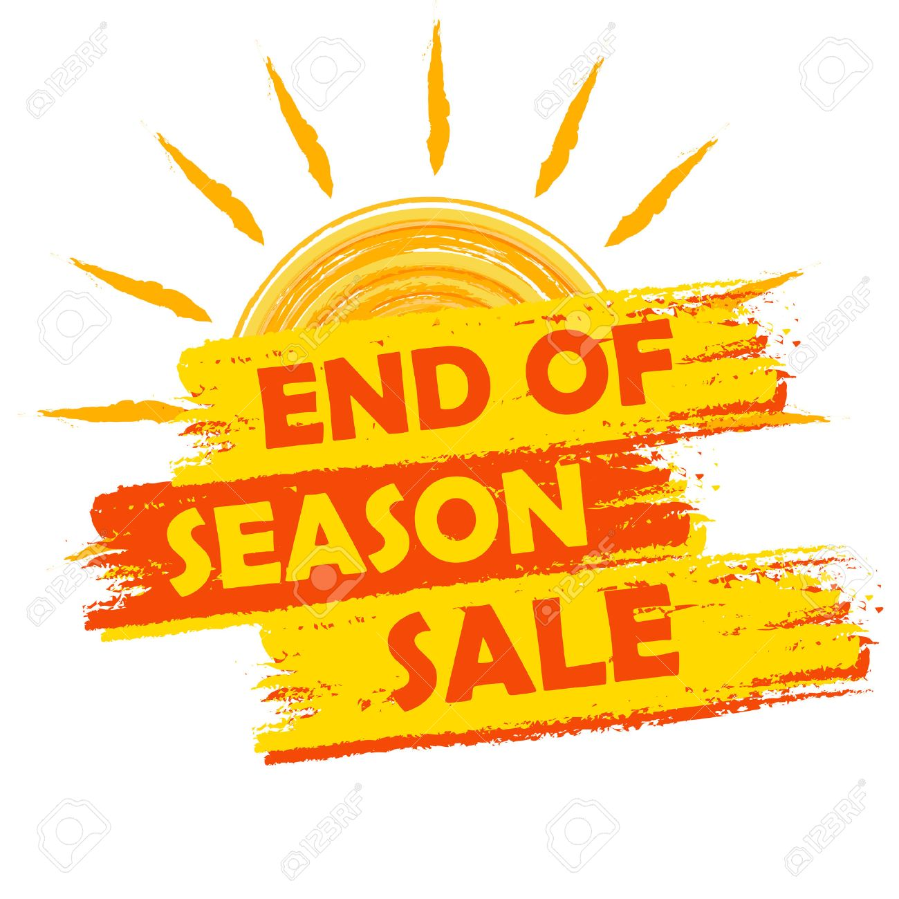 1ba52ed88ca end of season sale banner - text in yellow and orange drawn label with  summer sun