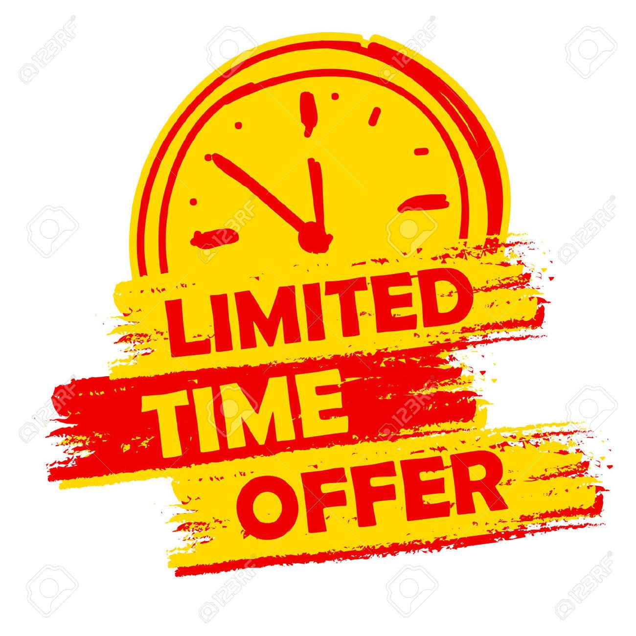 Limited time offer with clock sign banner text in yellow and limited time offer with clock sign banner text in yellow and red drawn label with buycottarizona