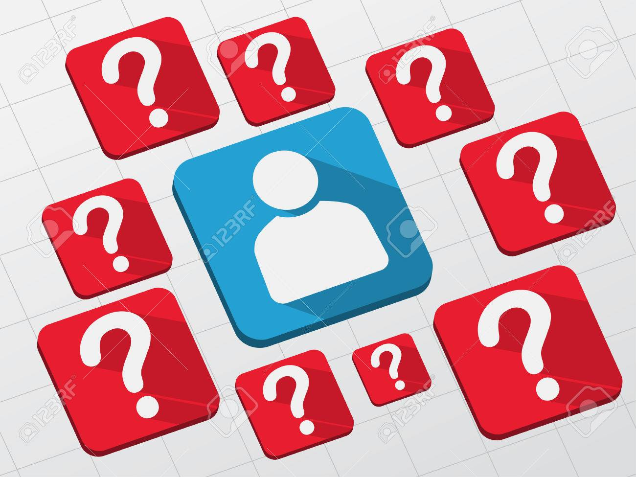 Person sign with question marks white symbols in blue and red flat person sign with question marks white symbols in blue and red flat design blocks biocorpaavc Images