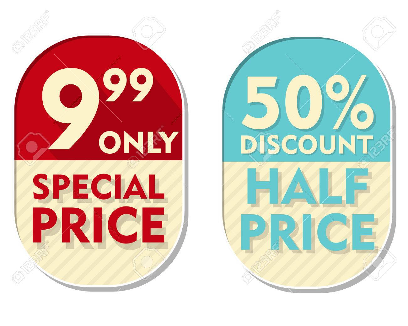 999 Only 50 Percent Discount Special And Half Price Text Banners