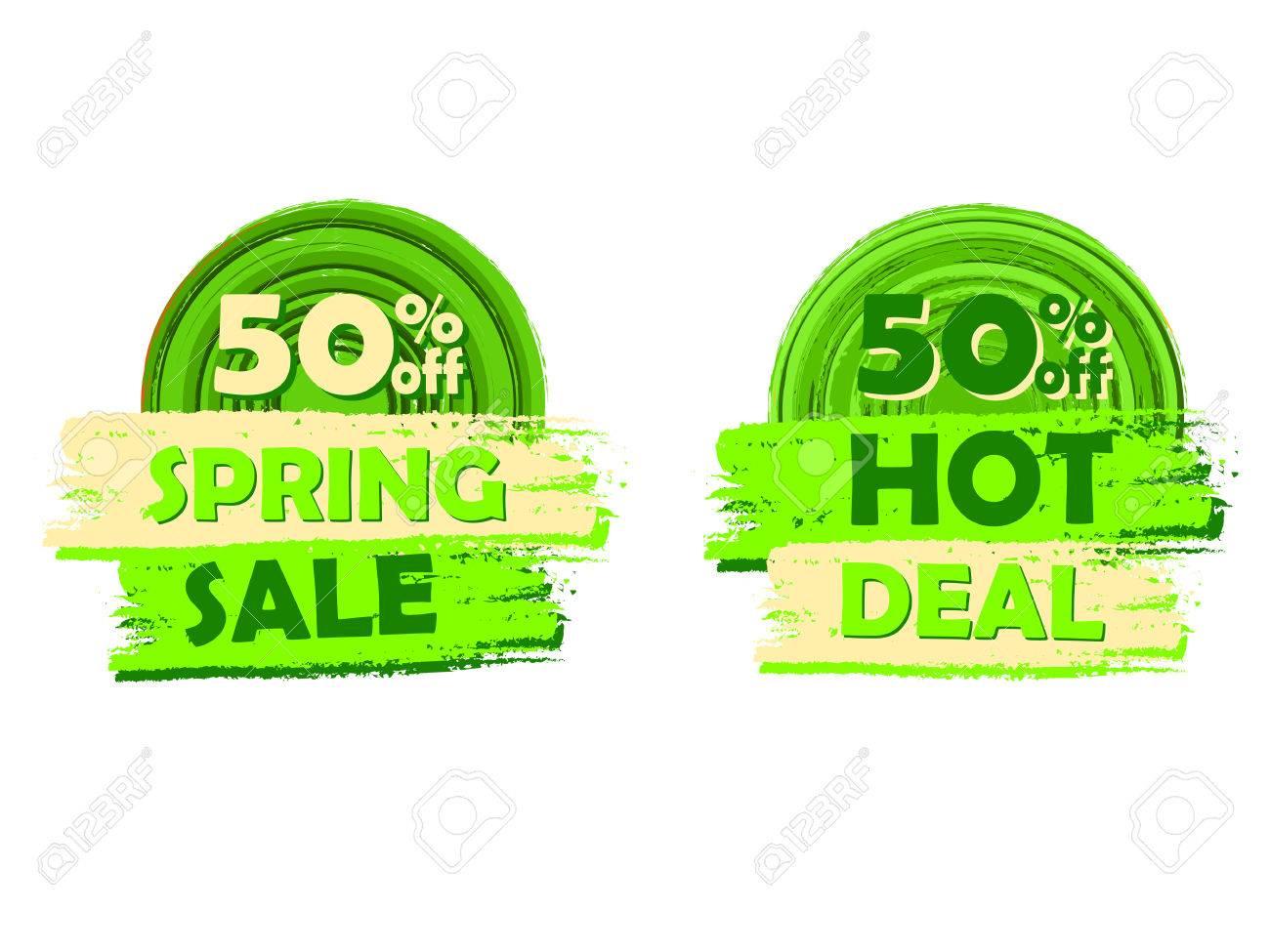 50 Prozent Off Frühjahr Verkaufen Und In Aktion Banner - Text In ...
