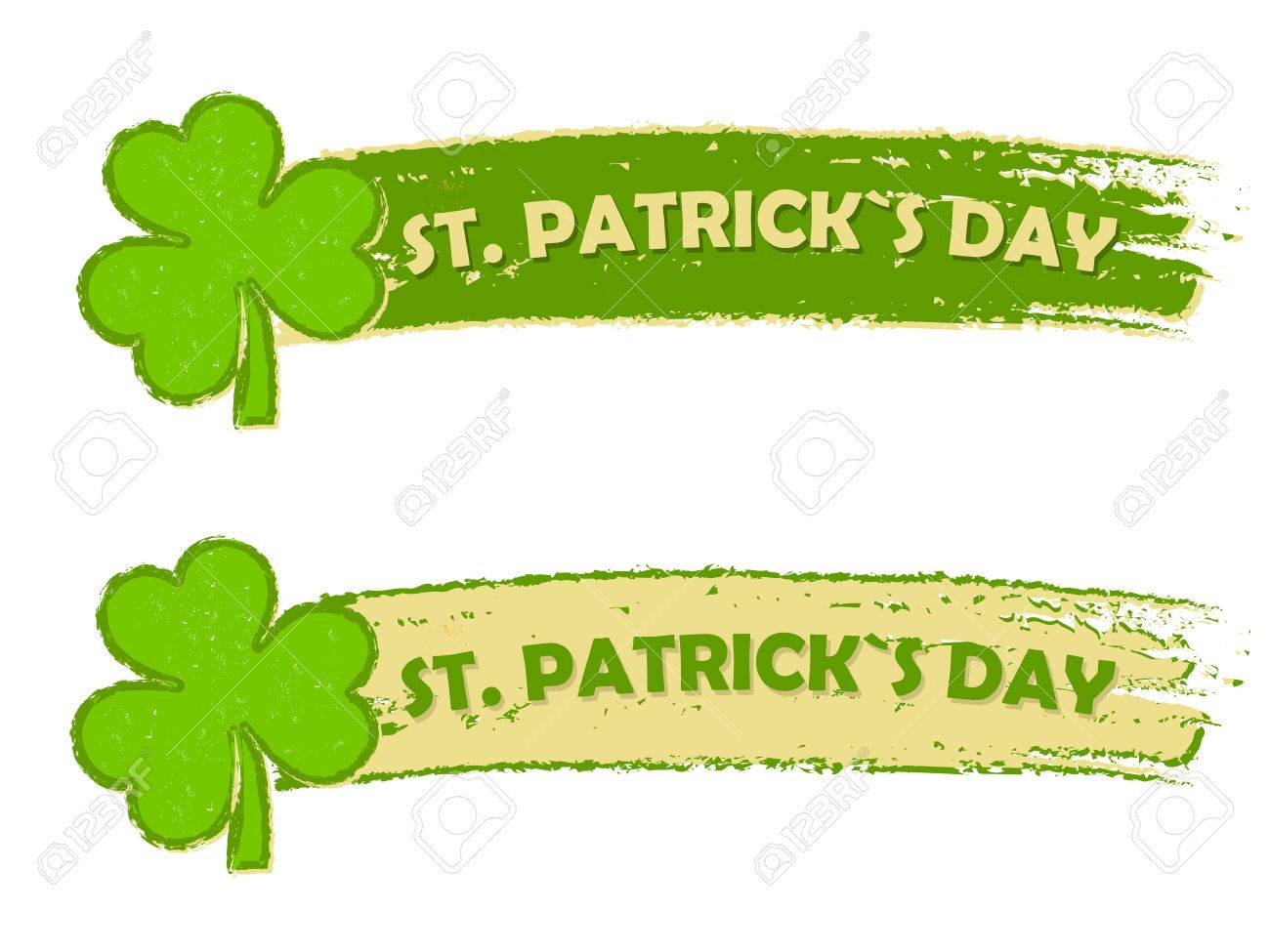 Happy St Patricks Day Text In Two Green Drawn Banners With