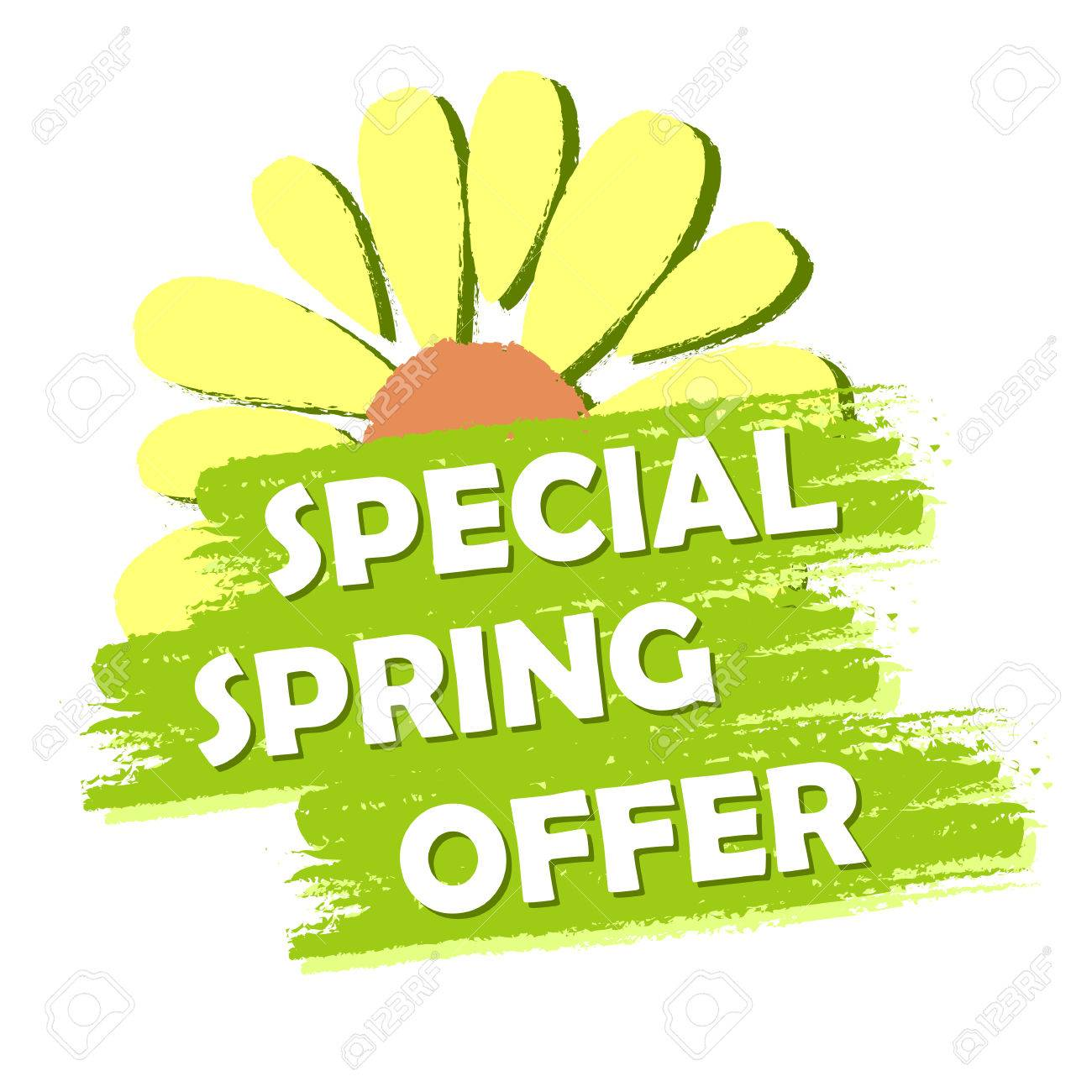 Special Spring Sale Banner Text And Flower Symbol In Green Stock