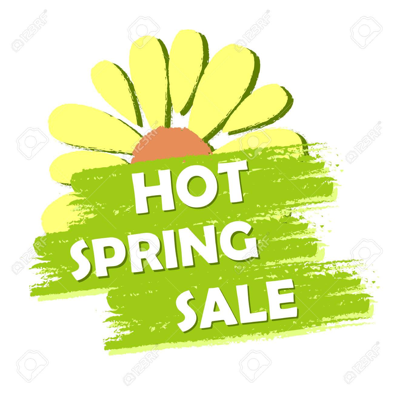 Hot Spring Sale Banner Text And Flower Symbol In Green Drawn