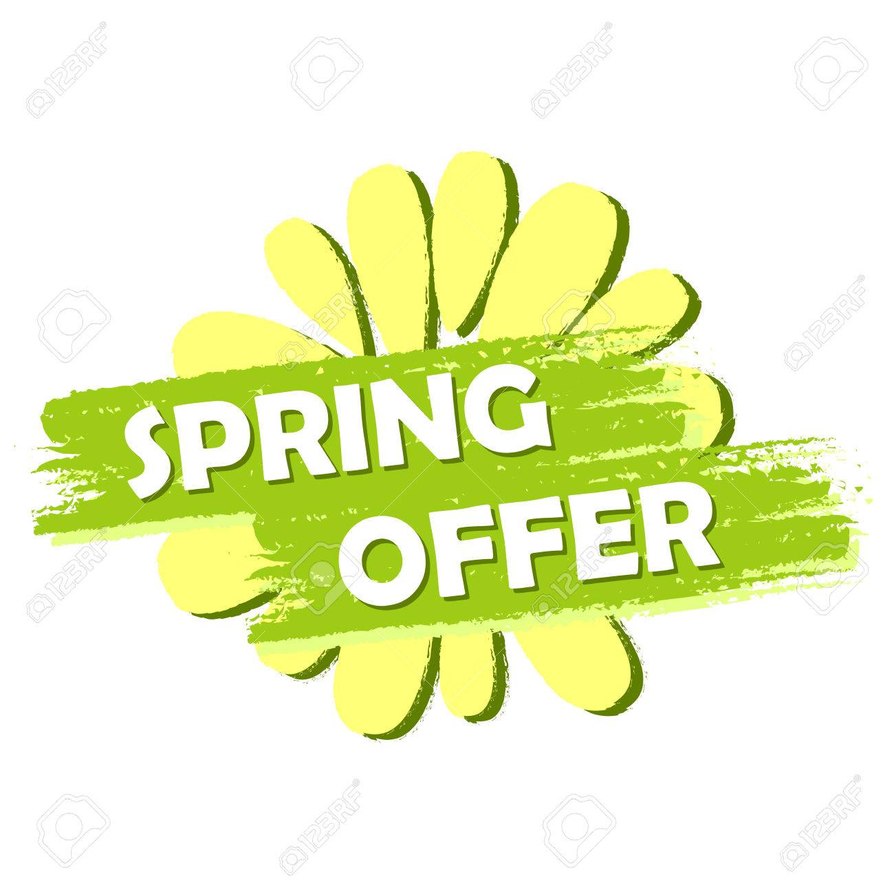Spring Offer Banner Text And Flower Symbol In Green Drawn Label
