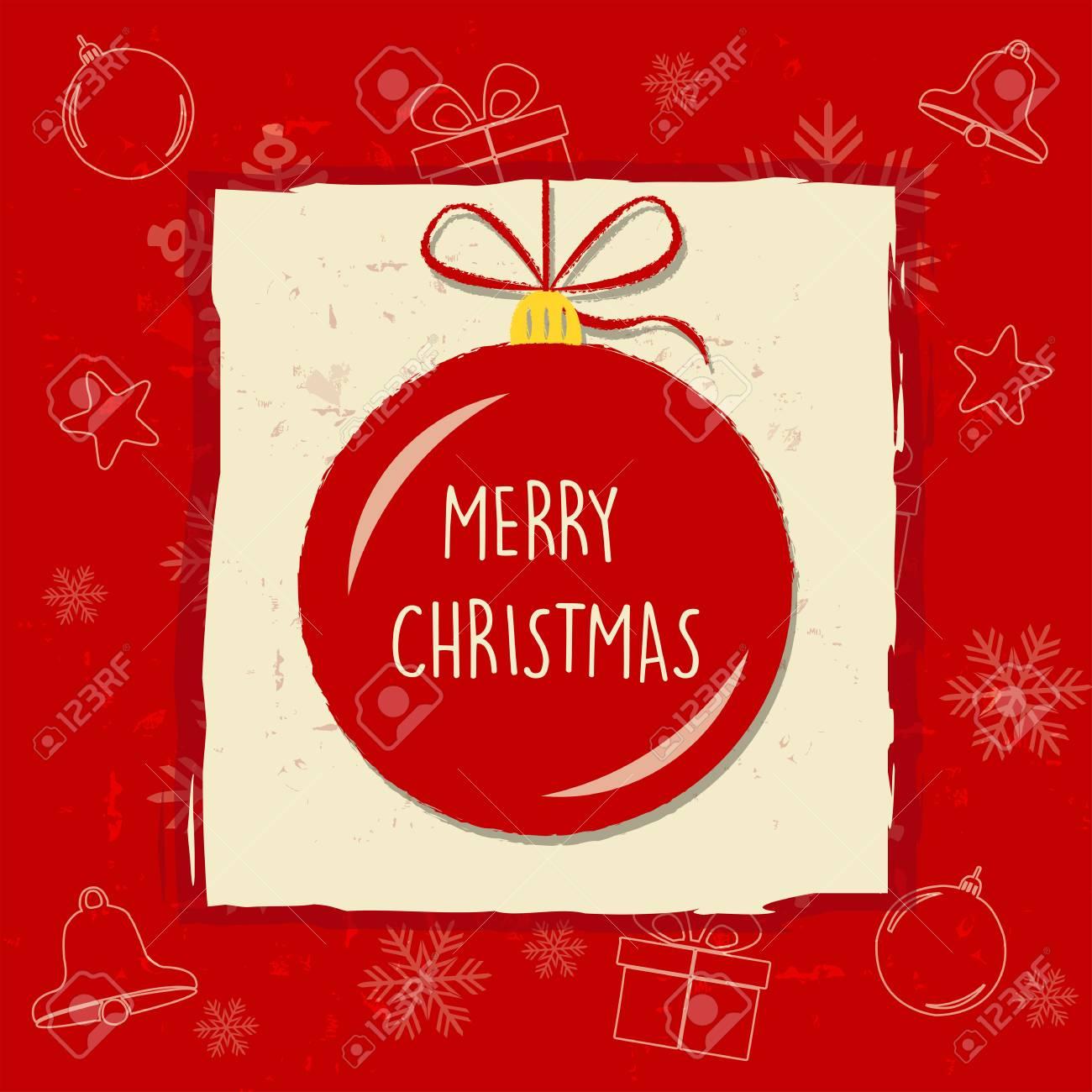Frohe Weihnachten In Weihnachtskugel In Roter Rahmen, Grußkarte ...