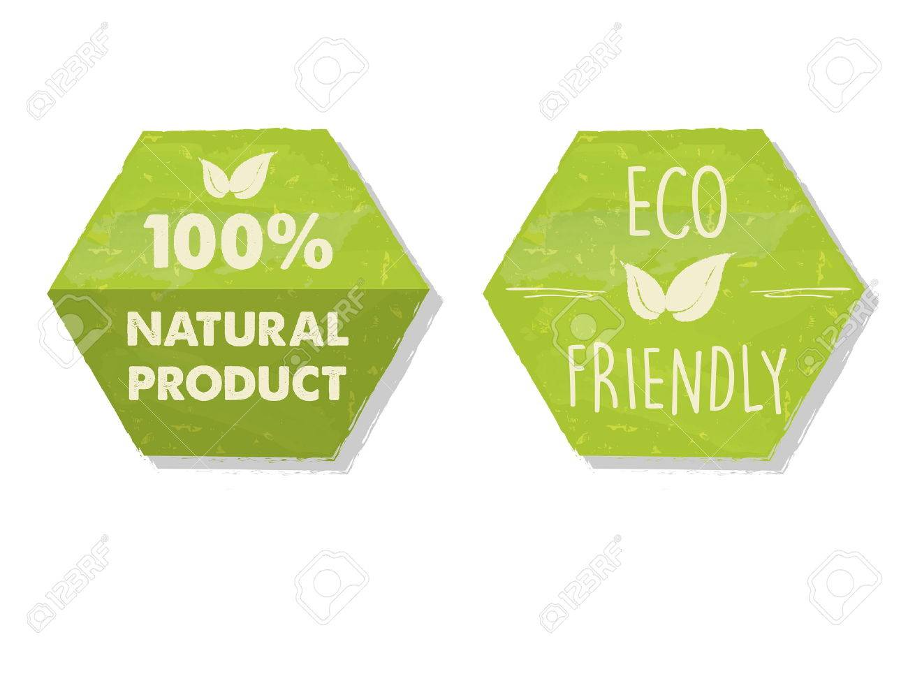 100 percent natural and eco friendly with leaf sign in green hexagons labels, bio ecology concept, vector - 57692748