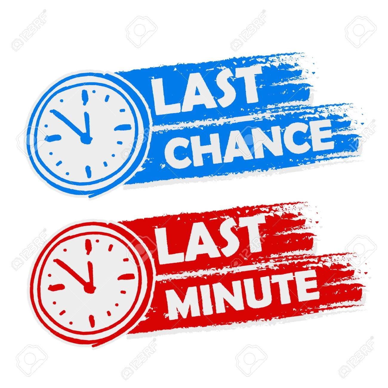 Last Chance And Last Minute Offer With Clock Signs Banners
