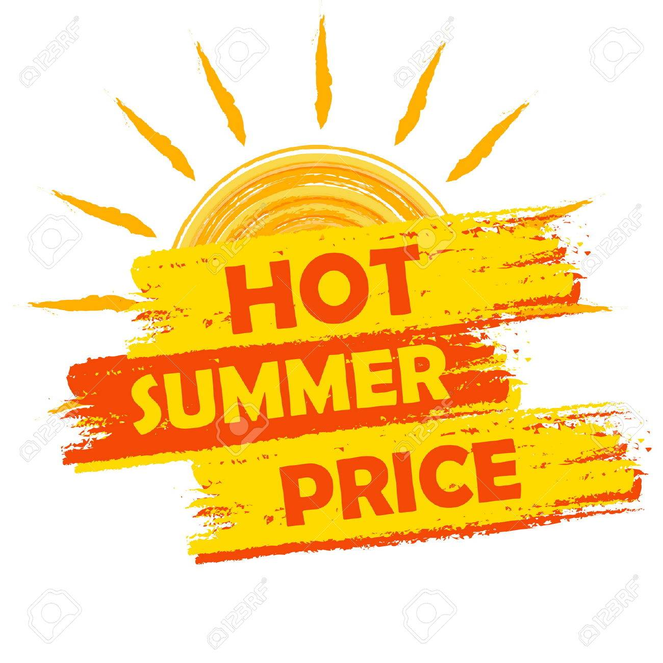 Hot Summer Price Banner Text In Yellow And Orange Drawn Label