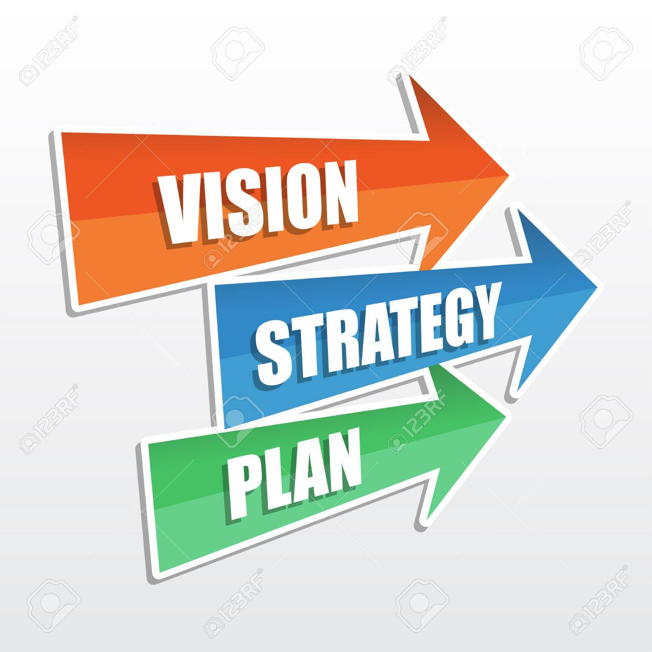 vision, strategy, plan - text in arrows, business development concept, flat design, vector - 60858664