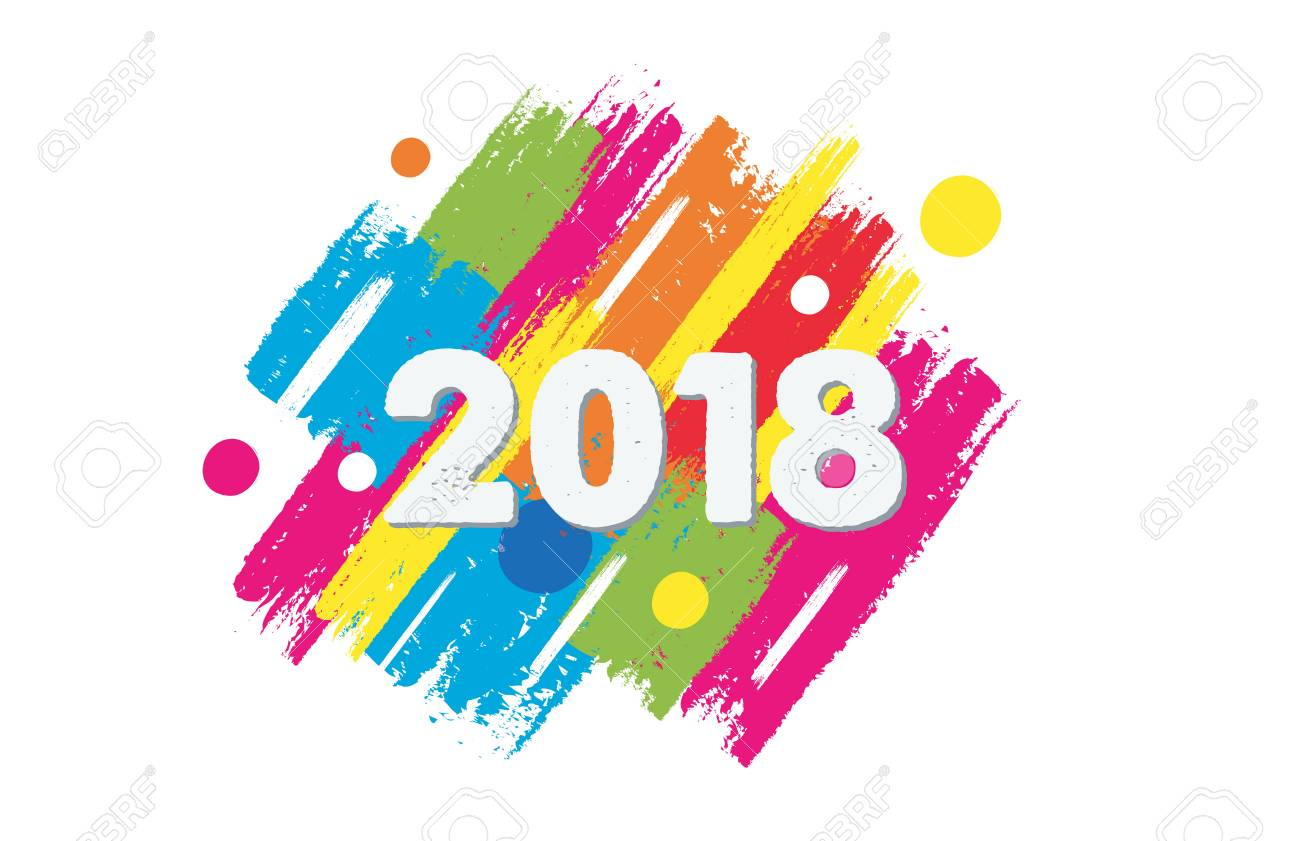 happy new year 2018 in colorful drawn banner holiday concept stock photo 89609740