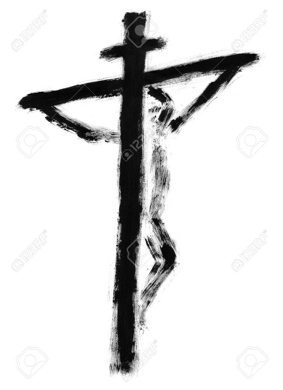 jesus on the cross drawn with watercolors stock photo picture and