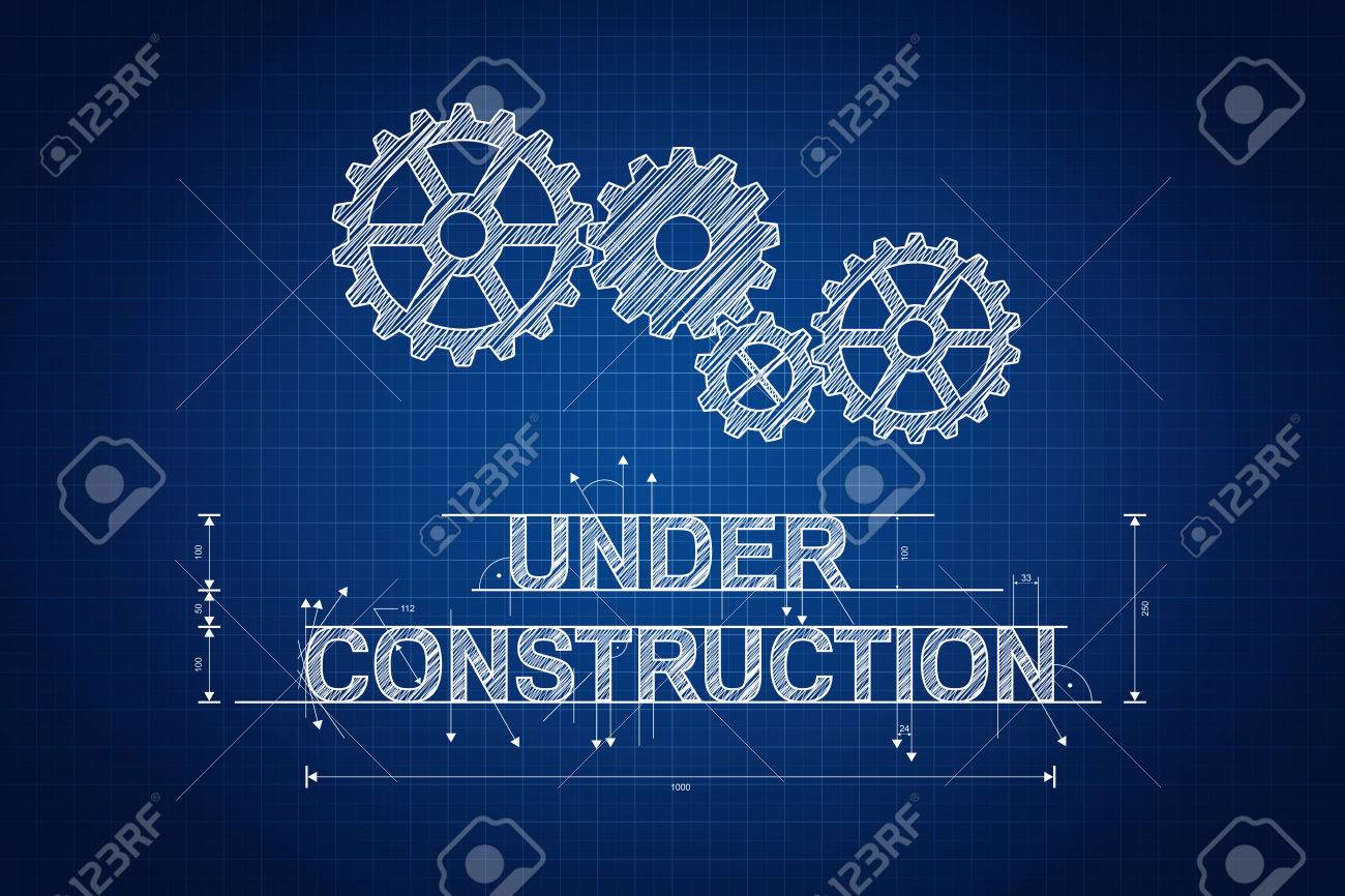 Under construction blueprint technical drawing with gear wheel stock photo under construction blueprint technical drawing with gear wheel malvernweather Gallery