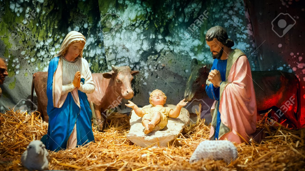 Christmas Nativity Scene With Baby Jesus, Mary Joseph In Barn Stock ...