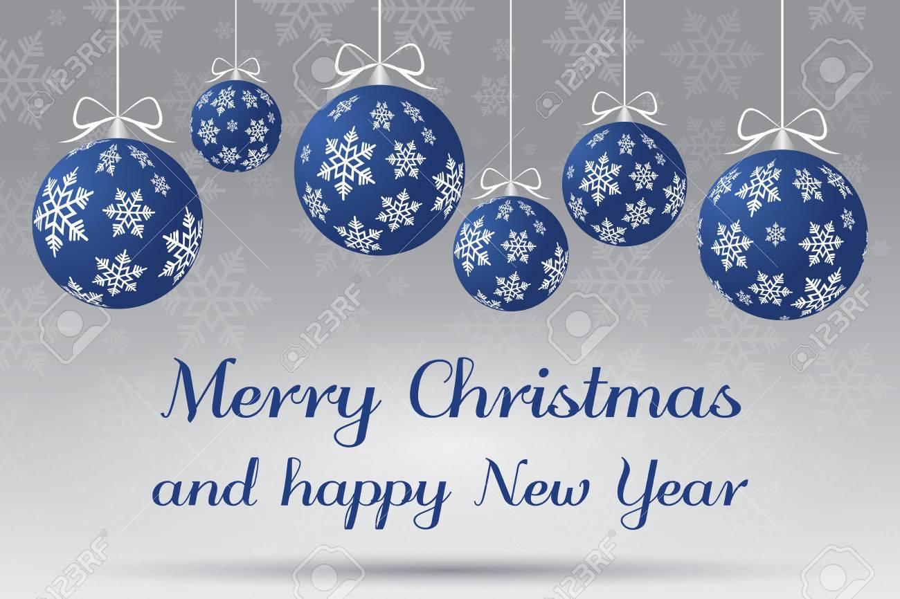 Abstrakt Silber Und Blau Christmas Illustration. Frohe Weihnachten ...