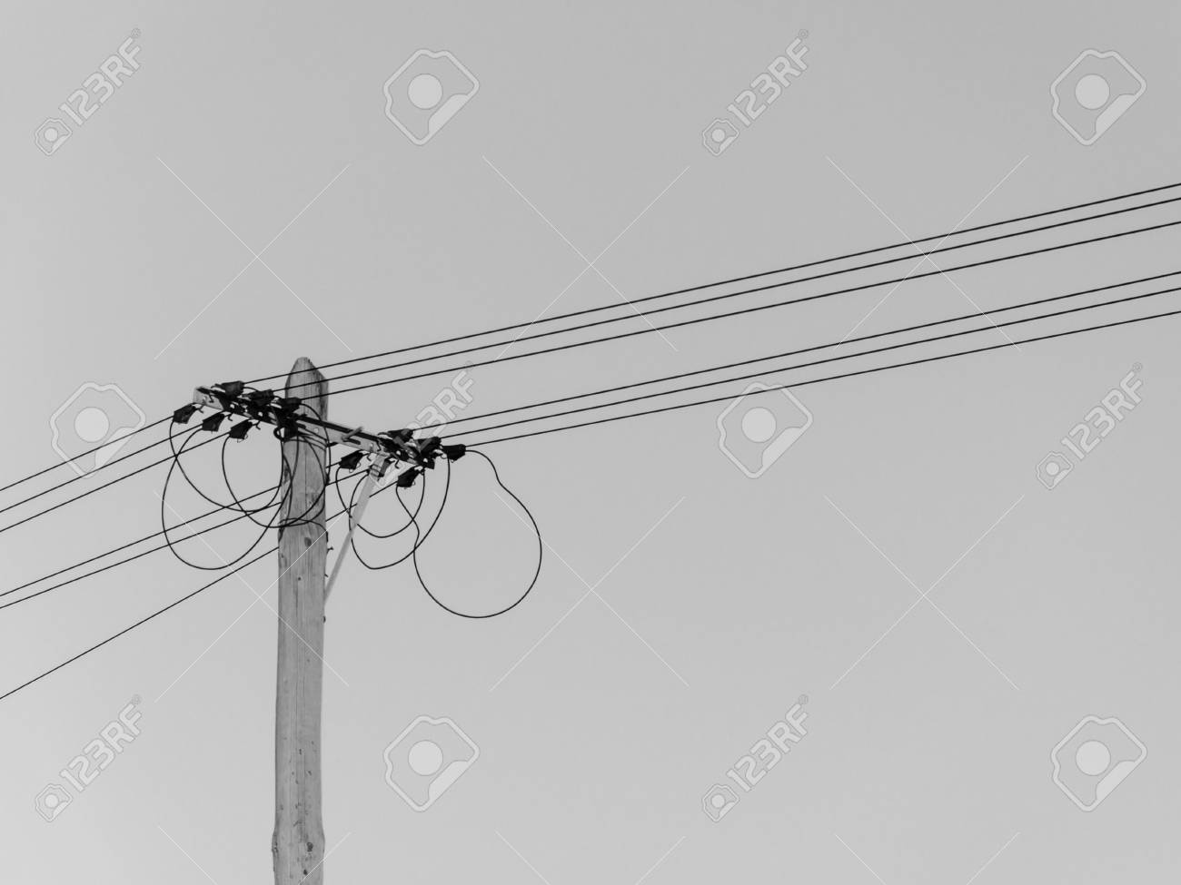 View Of The Head Of An Old-fashioned Electric Pole With Wires ...