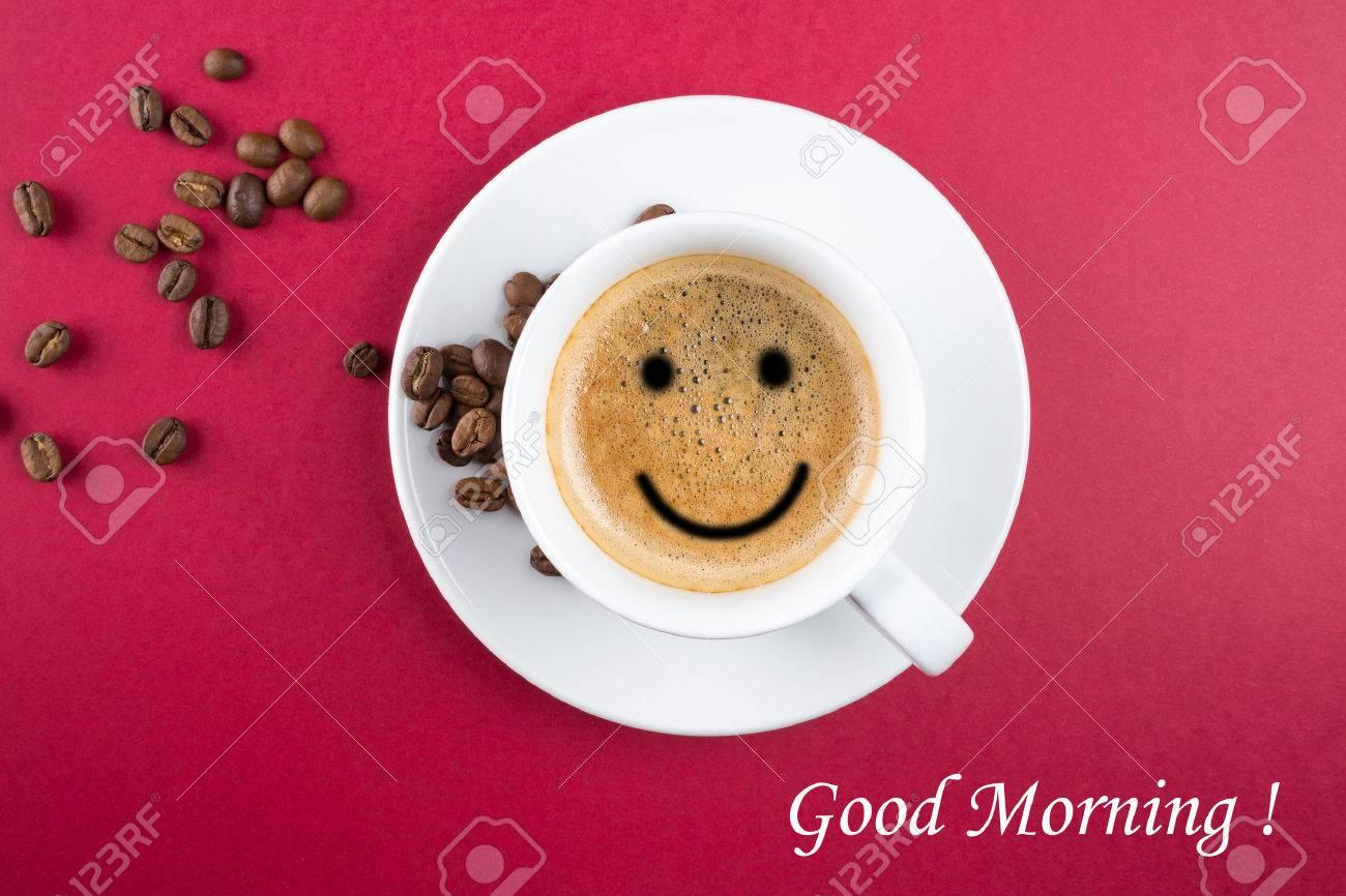 Bonjour Tasse De Café De Fond