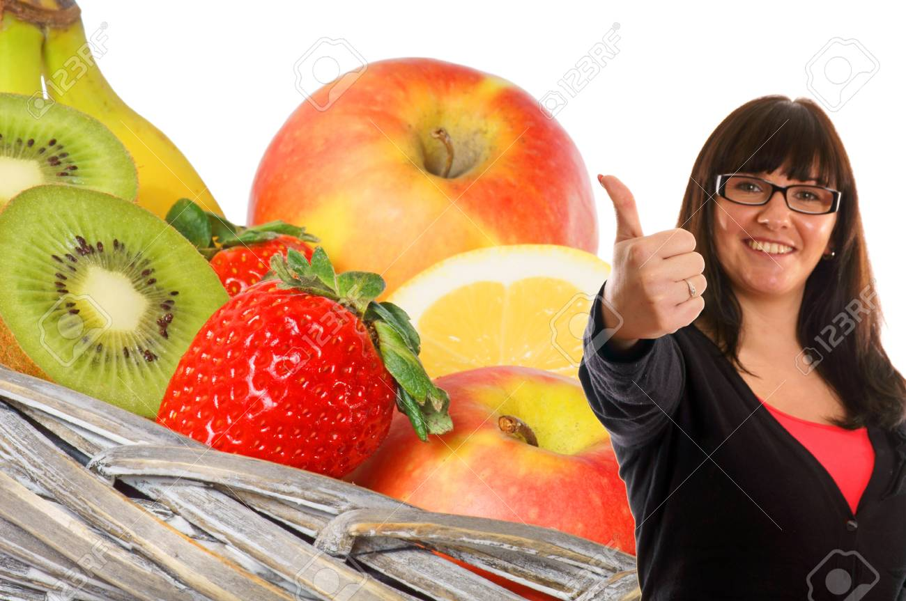 Woman shows a thumbs up from various fruits Stock Photo - 13310711