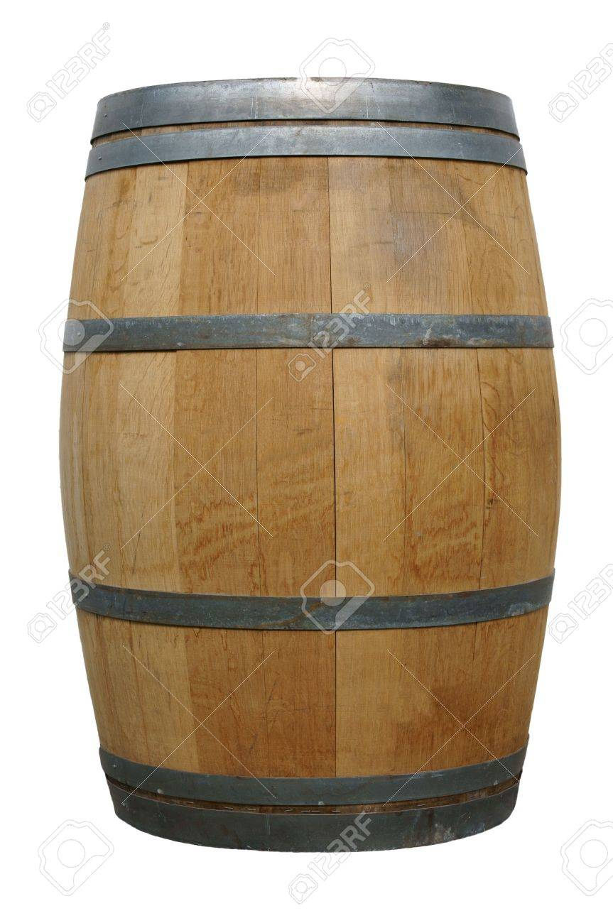 wooden barrel over a white background - 13919018