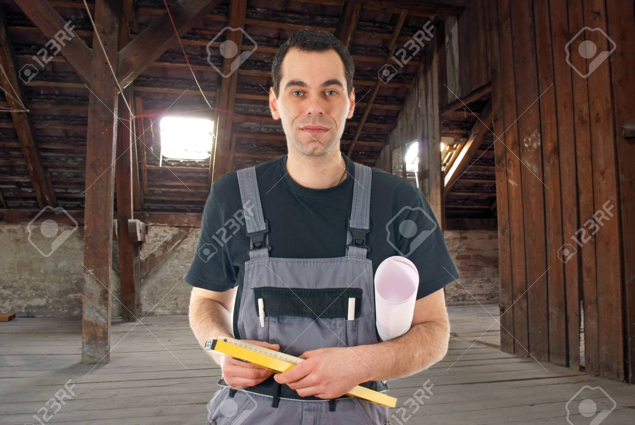 construction worker in a old house Stock Photo - 14090109