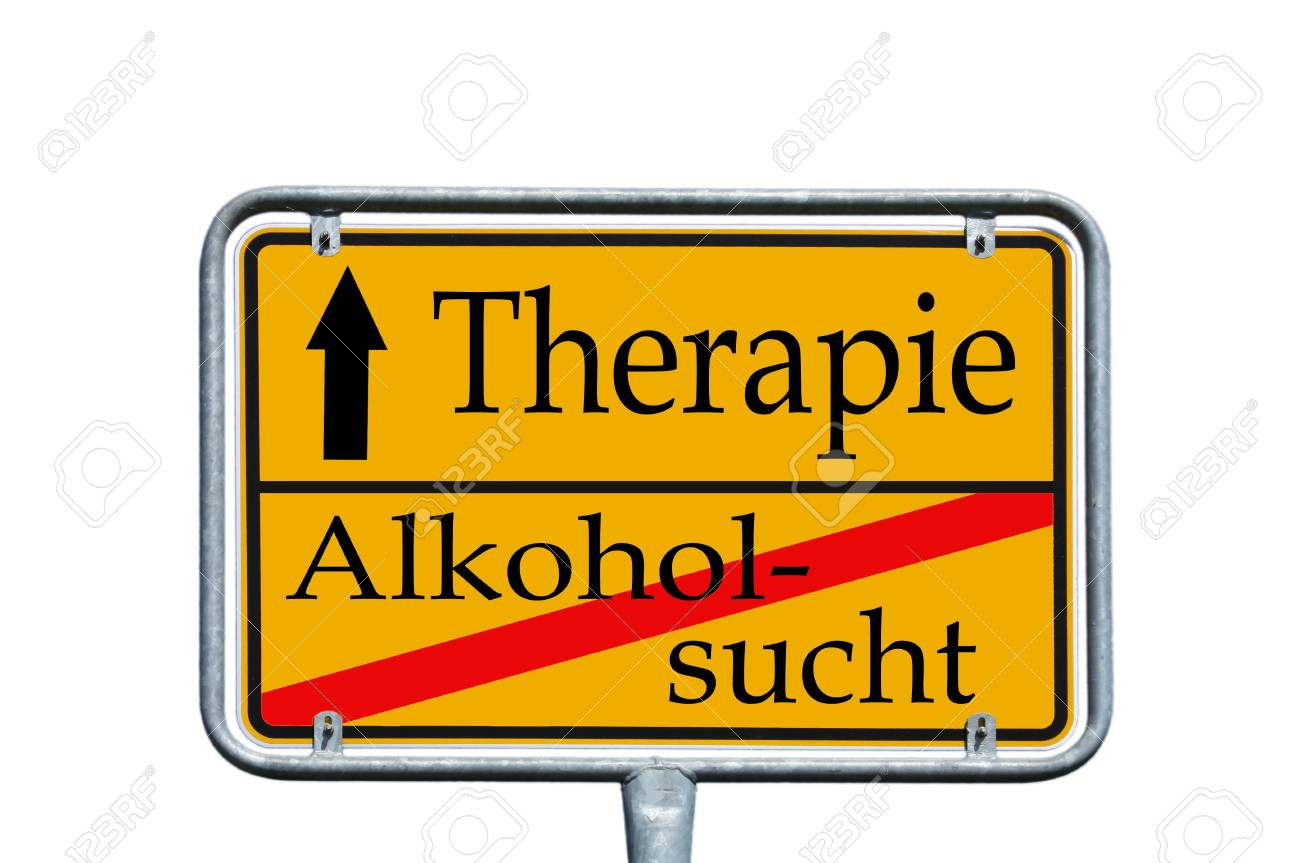 sign with the german words Alcohol Addiction and Treatment Stock Photo - 14090094