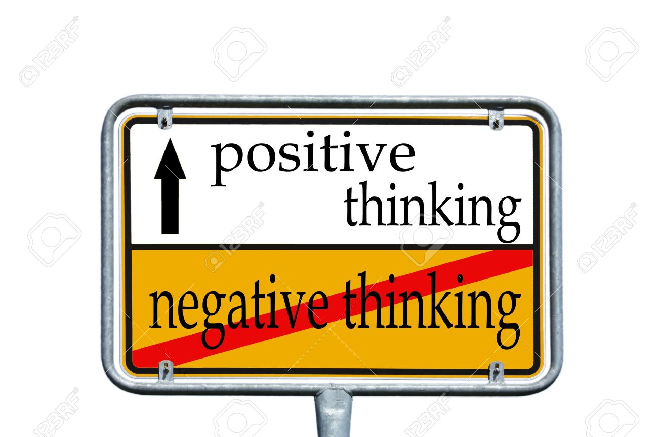 street sign with the words positive thinking and negative thinking - 14193706