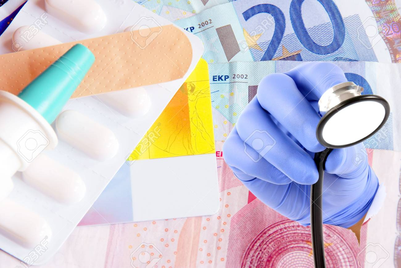 Medicines and hand with stethoscope Stock Photo - 14240395