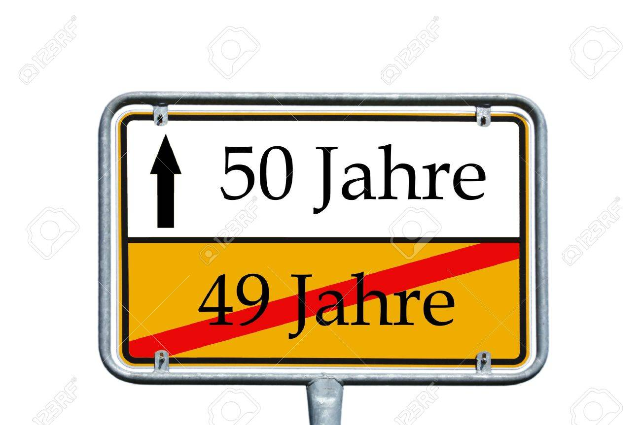 sign with the german word 49 years and 50 years - 14376860