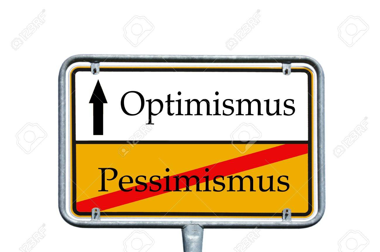 sign with the german words optimism and pessimism Stock Photo - 14578390
