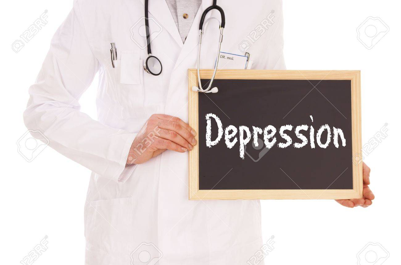 Doctor and sign with the word depression Stock Photo - 16577820