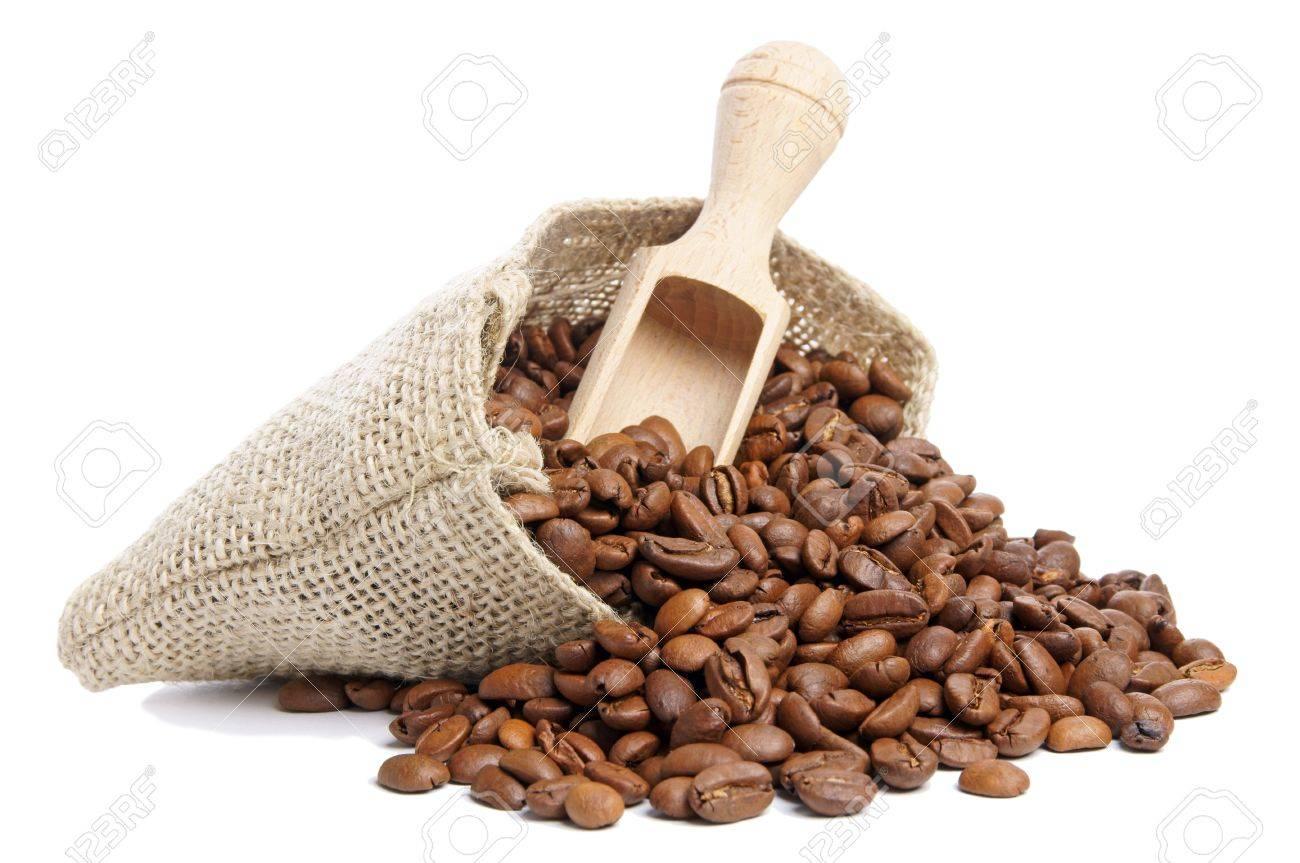 Coffee beans in burlap sack - 16695506