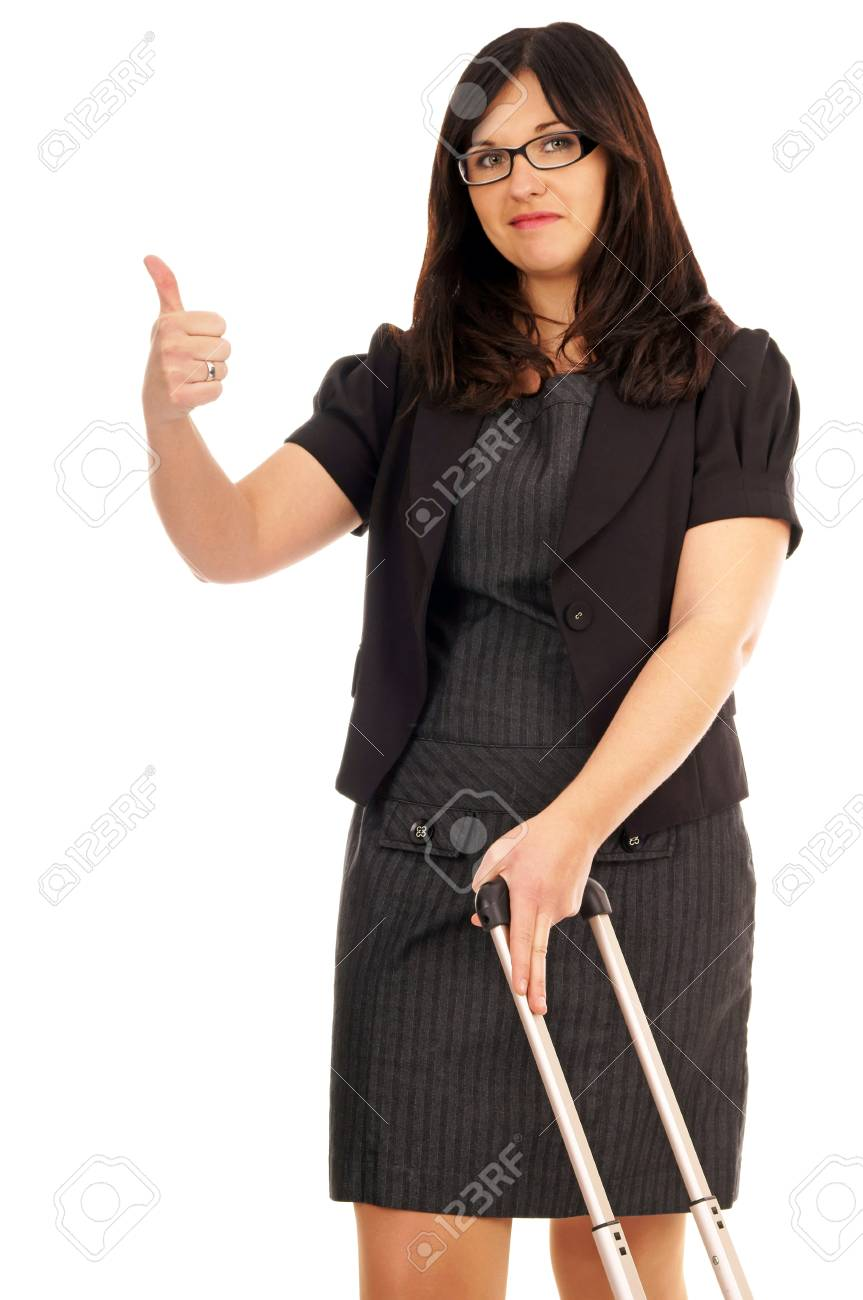 Business woman with suitcase and thumbs up Stock Photo - 17097998