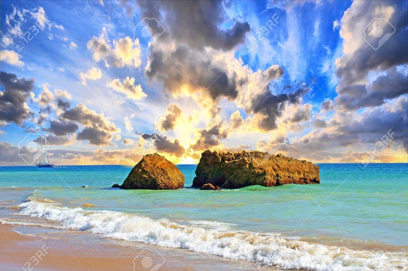 Atlantic beach with beautiful sky - 18655214
