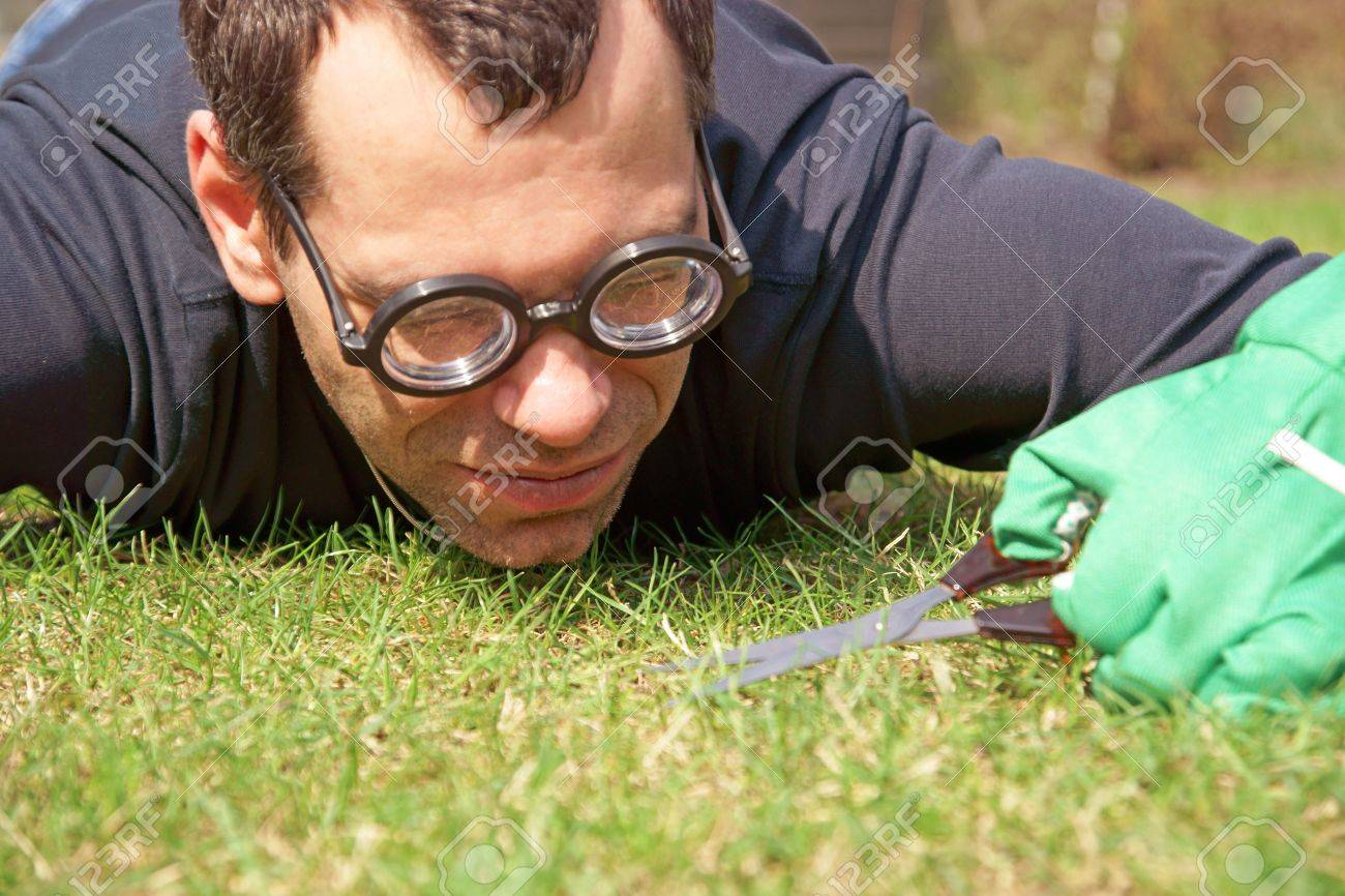 Man with scissors cultivates the lawn - 19263306