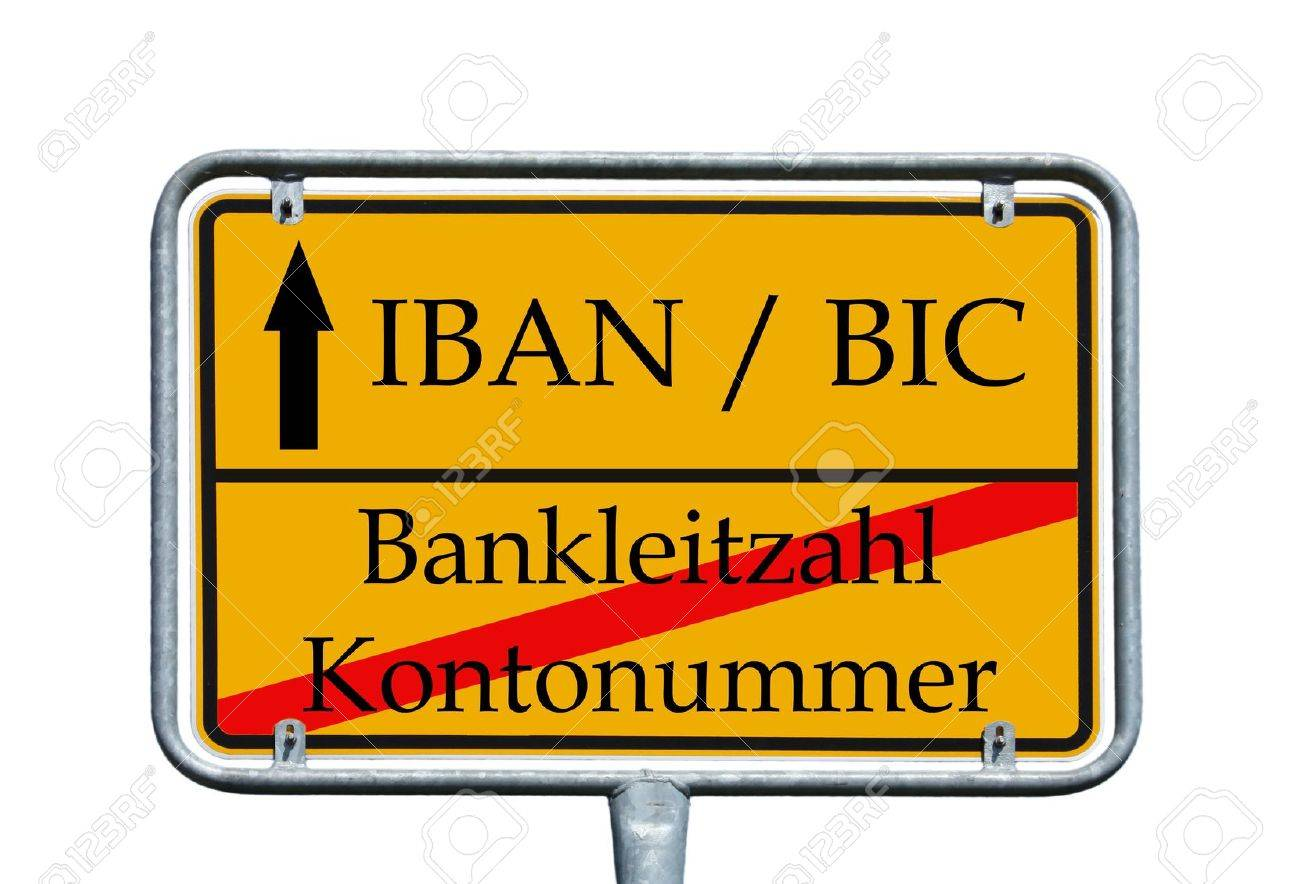 sign with the german words Account number, bank code and IBAN, BIC - 21124494