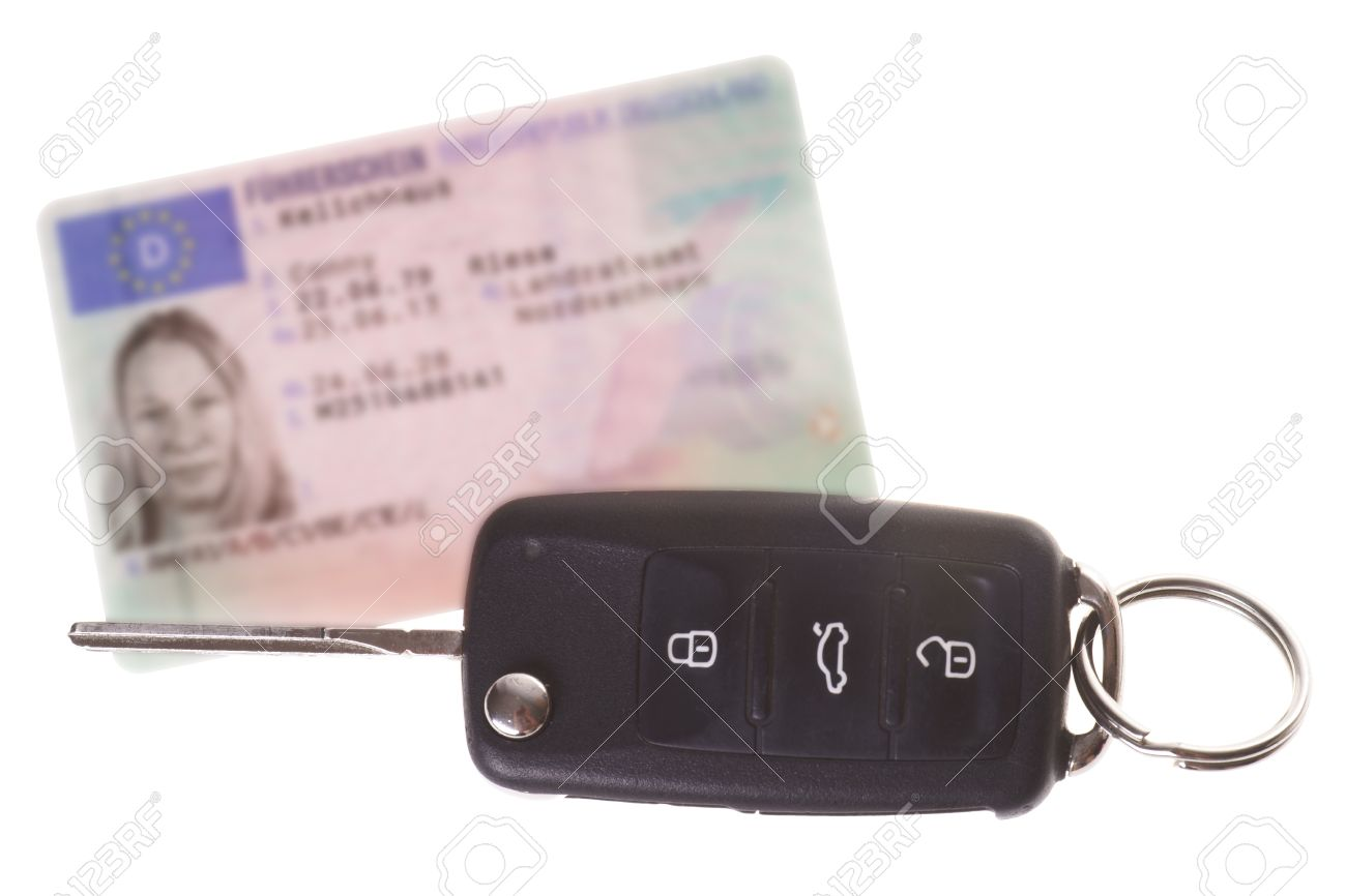german driver license with car key - 21383161
