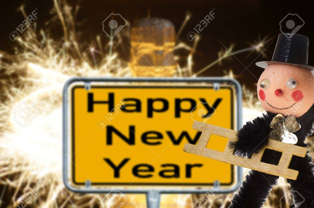 Chimney sweep with sign - Happy New Year Stock Photo - 21908512