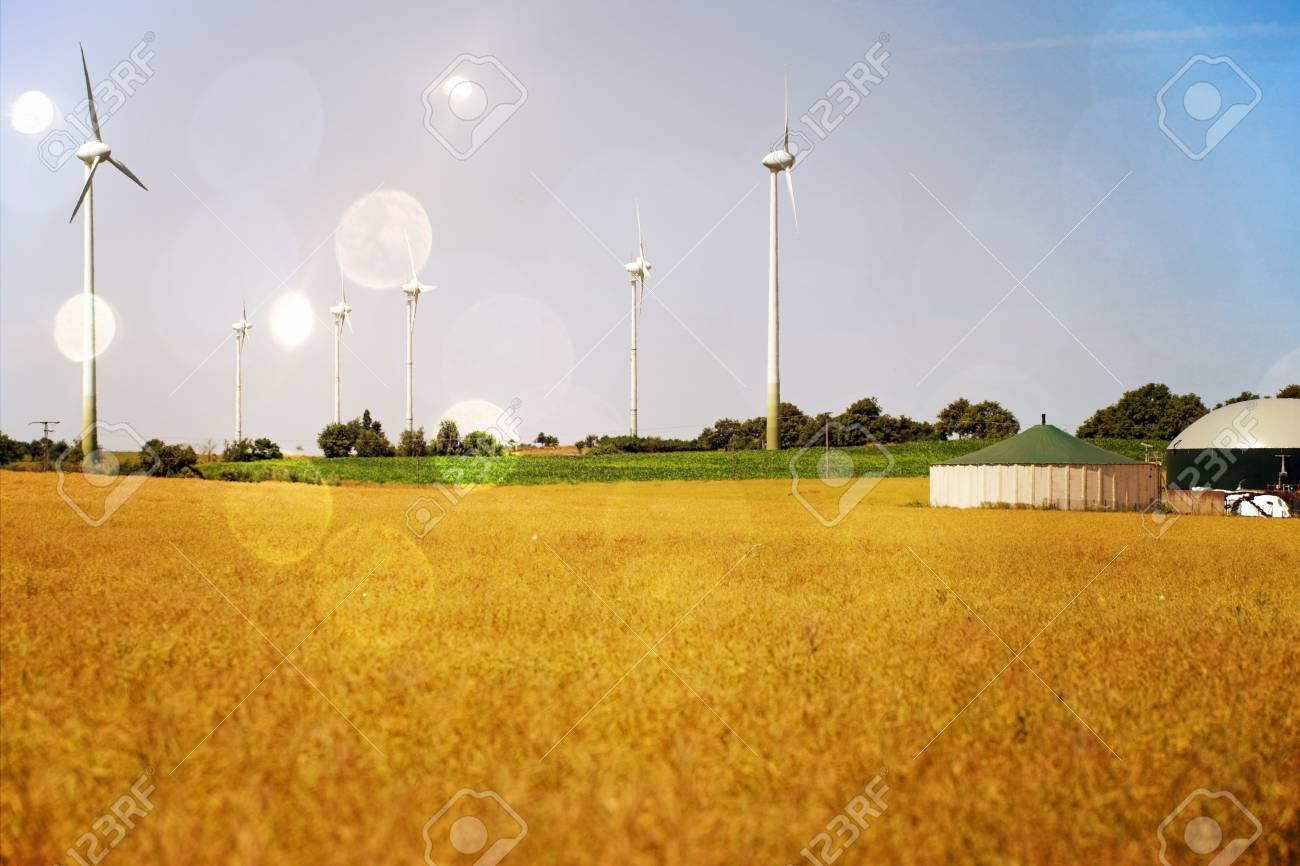 Grain field with wind turbines and biogas system - 25076007