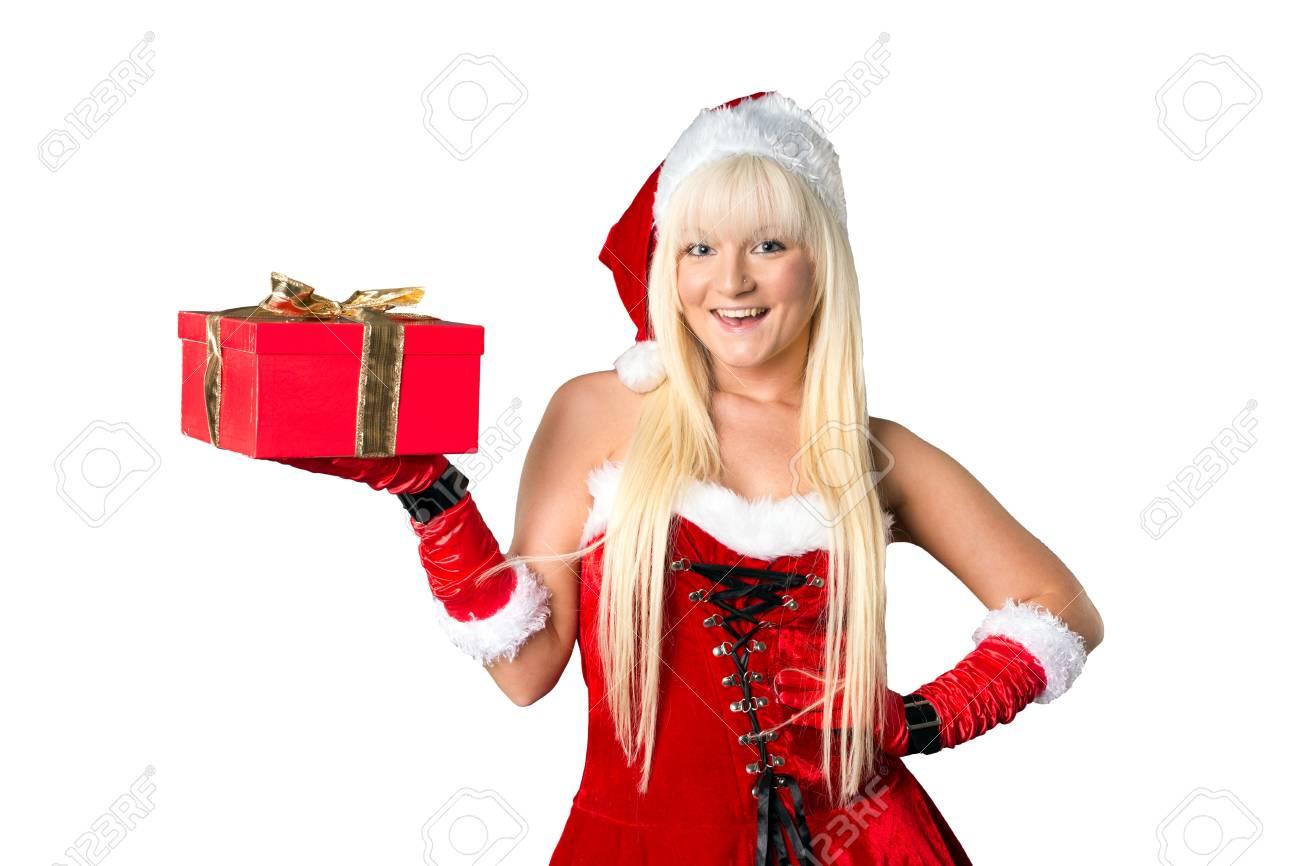 Hübsche Frau Mit Weihnachtsgeschenk Lizenzfreie Fotos, Bilder Und ...