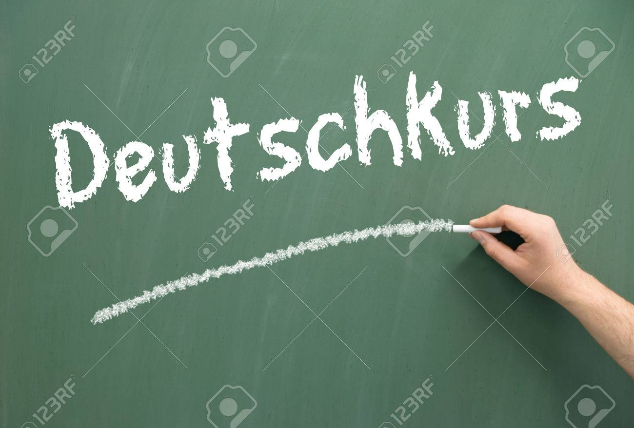 Chalkboard with the german words German Course - 36619710