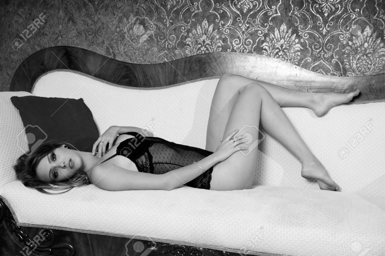 Pleasing Sexy Woman In Underwear Lying On A Couch In Black And White Uwap Interior Chair Design Uwaporg