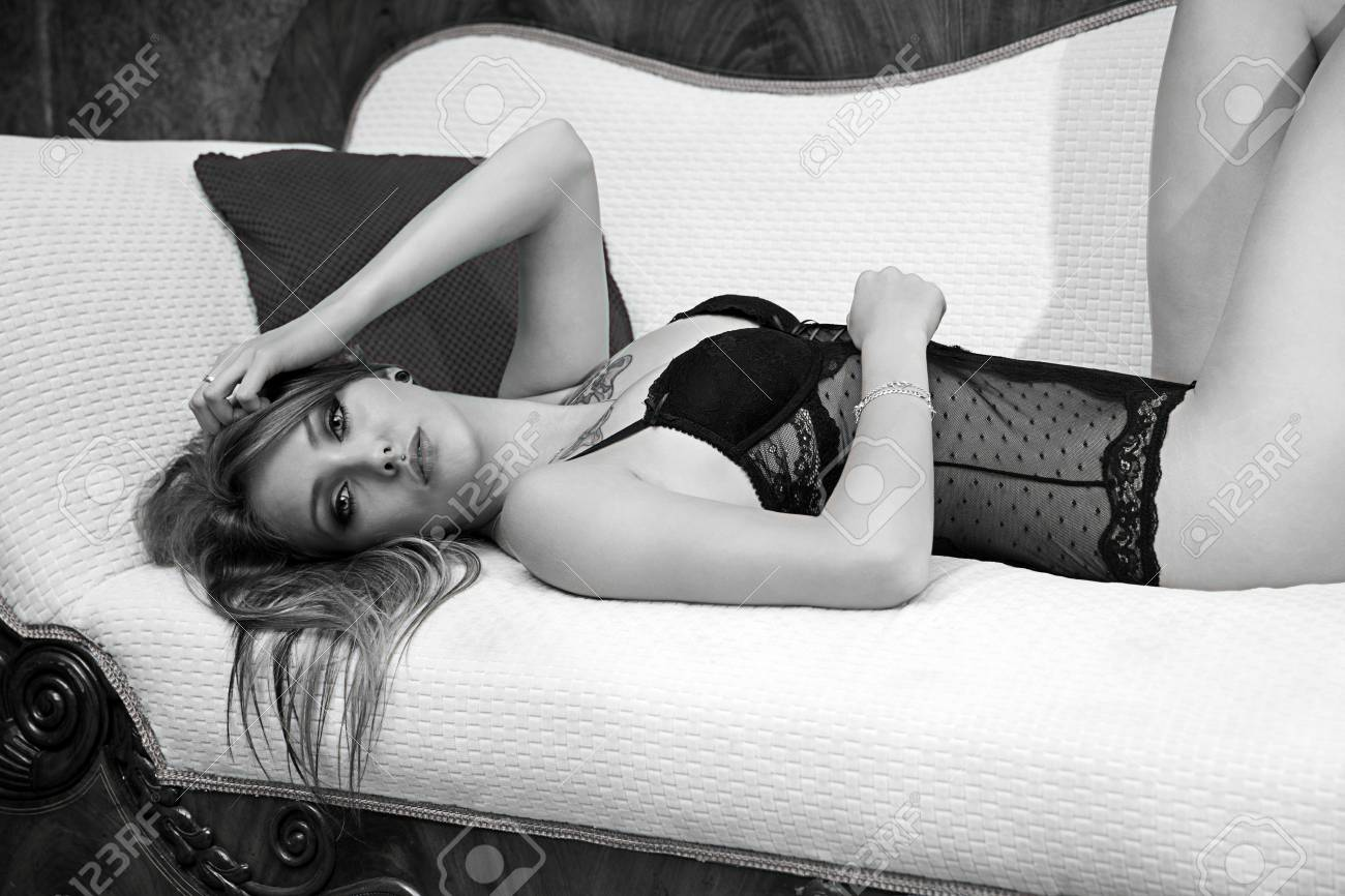 Outstanding Sexy Woman In Underwear Lying On A Couch In Black And White Uwap Interior Chair Design Uwaporg