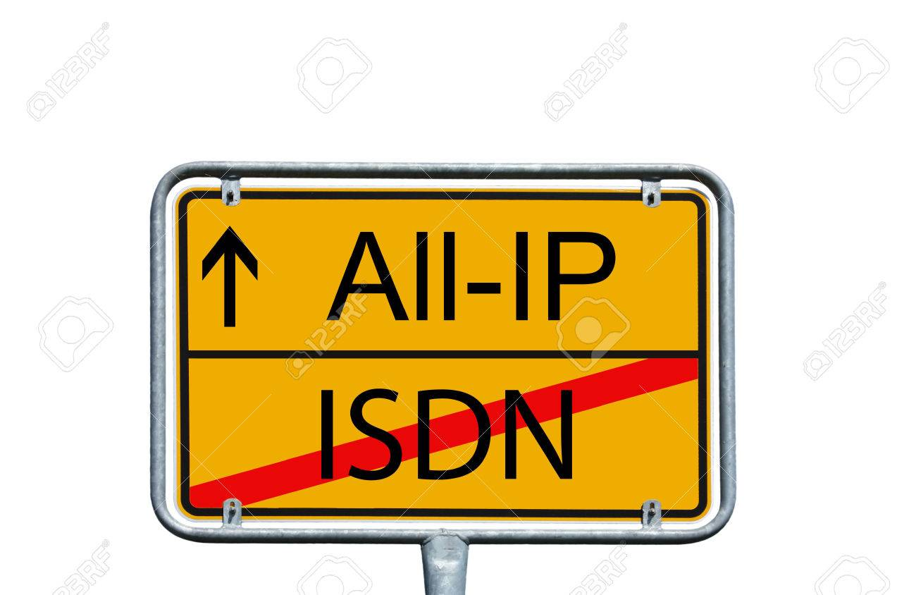 town sign with the words All IP and ISDN - 70374934