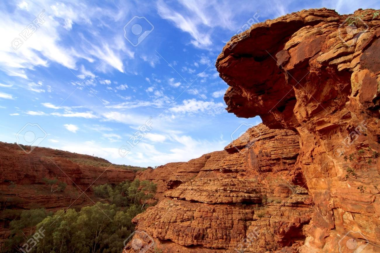 Hiking on Kings Canyon, Australian Red Centre Stock Photo - 4295488