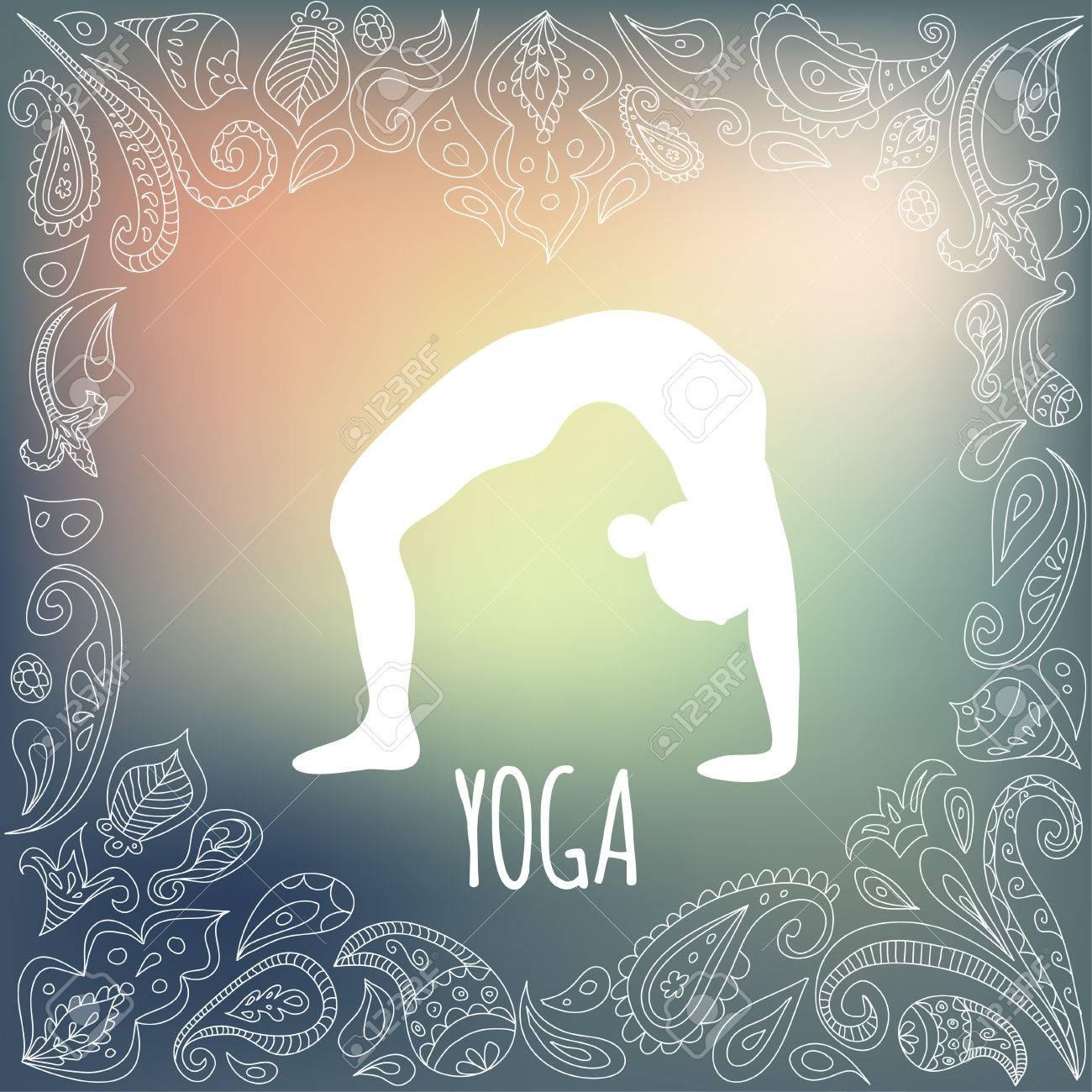 Yoga Symbol Mit Herz Rahmen Und Mädchen üben Rad Pose Urdhva ...