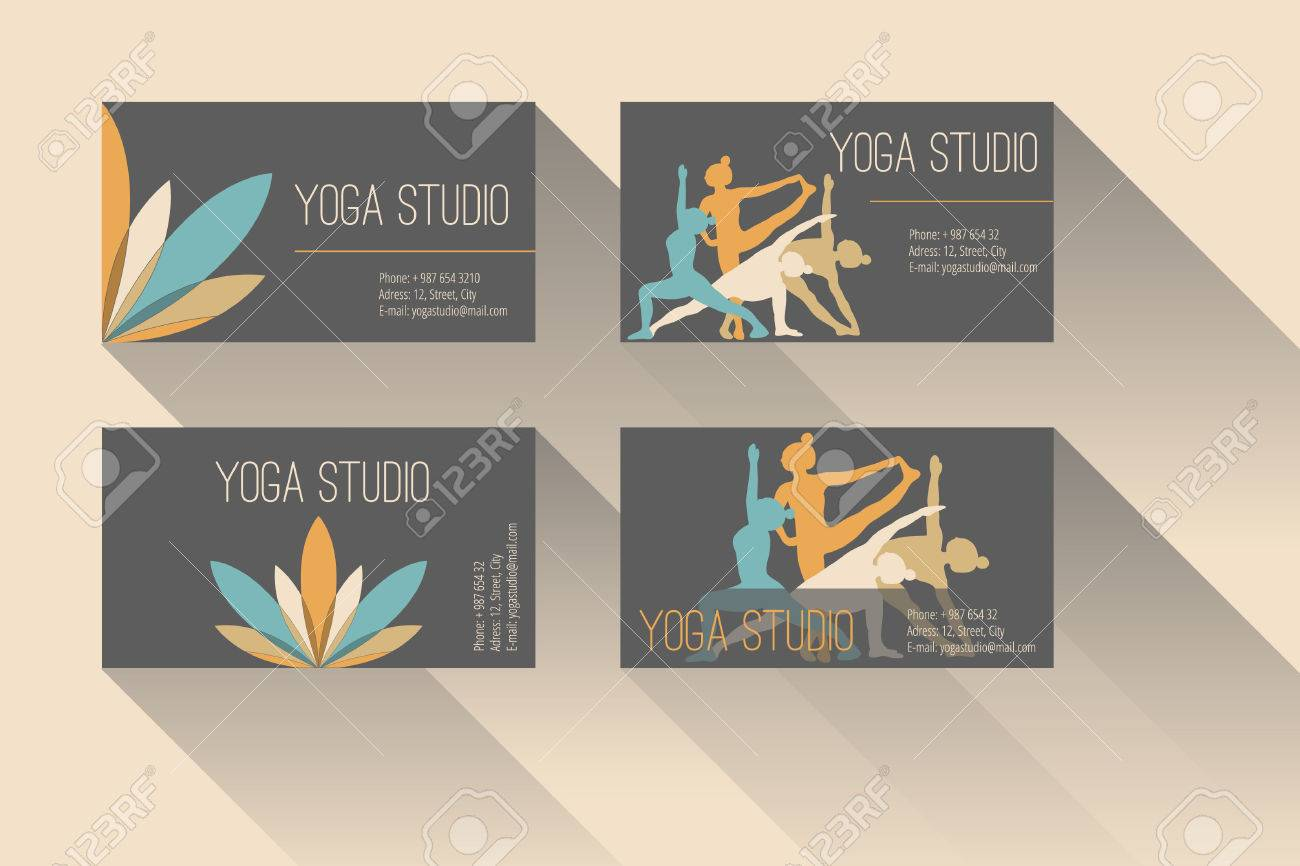 Set Of Business Card For Yoga Studio Or Yoga Instructor Royalty ...