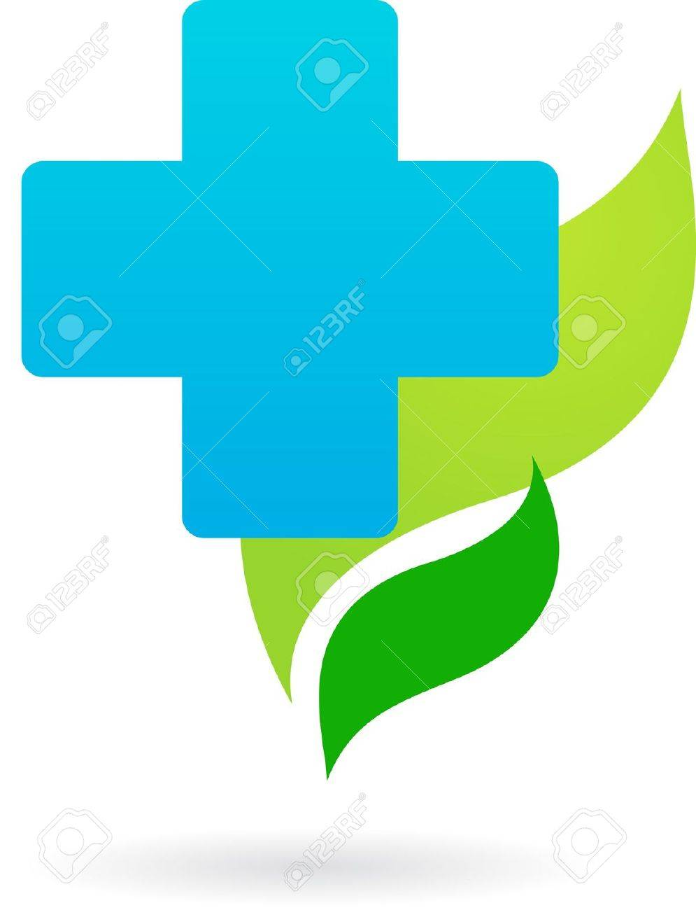 Humanitarian  Blue cross on a green leaves background Stock Photo - 6451820