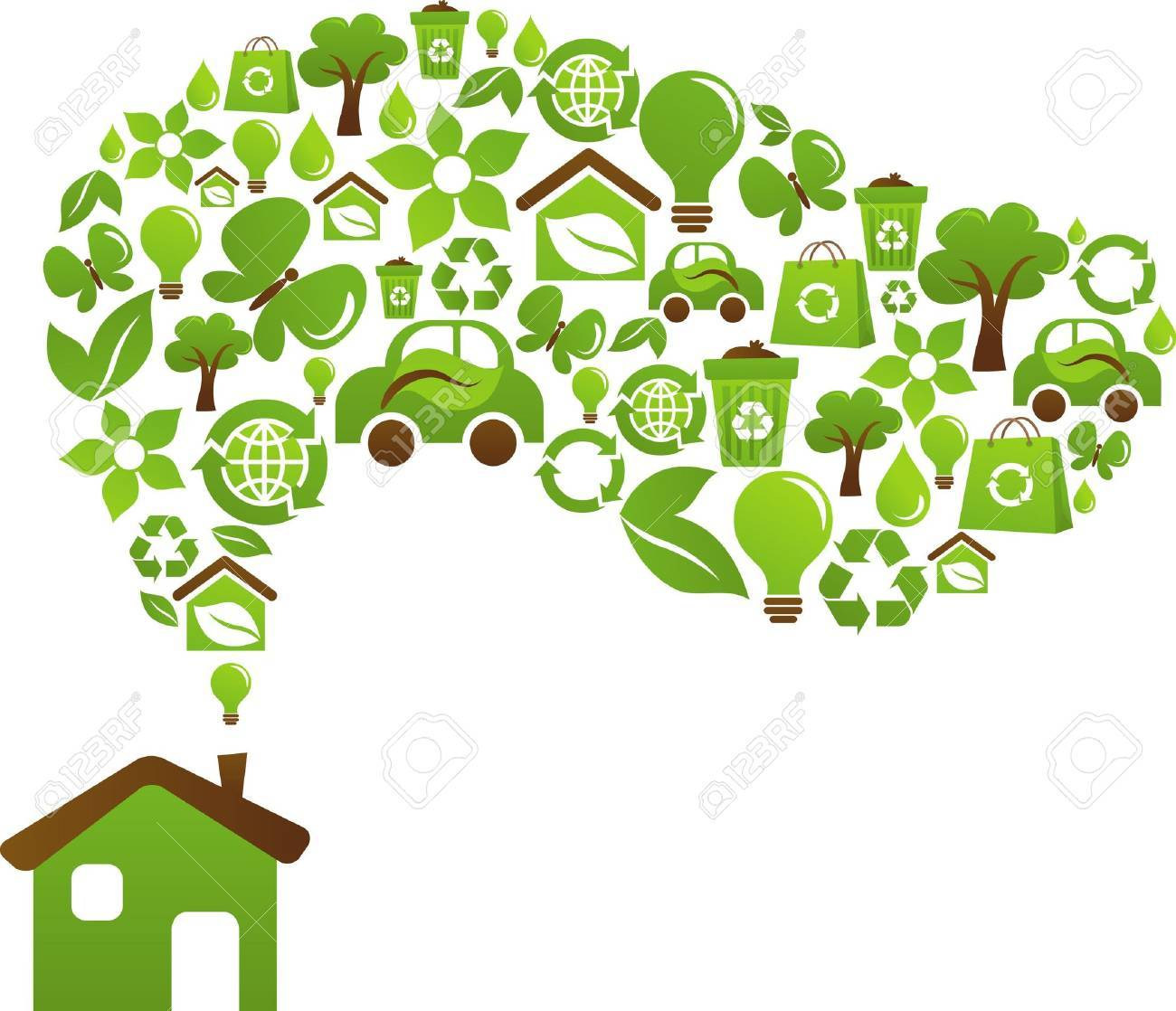 Green house with icons of birds, butterflies and flowers Stock Photo - 6451889