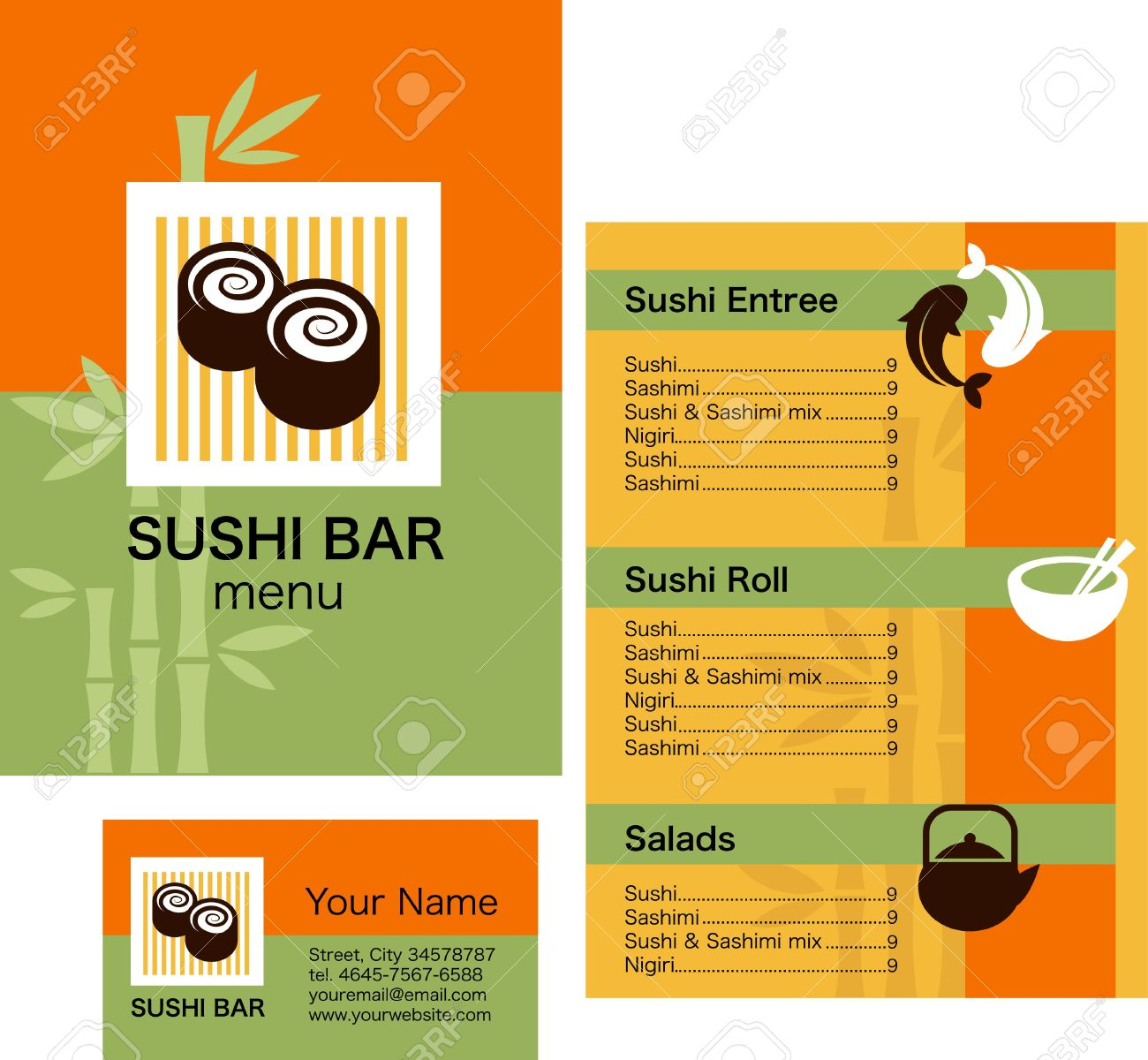 Template of sushi menu and business card with orange and green stock photo template of sushi menu and business card with orange and green background wajeb Choice Image